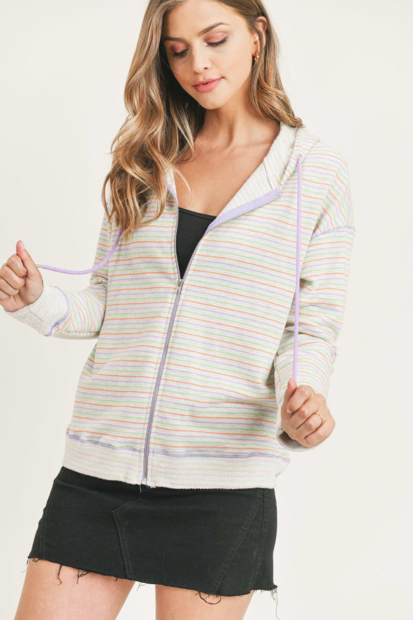 Painted Threads Hoodie - Multi Stripe - Front