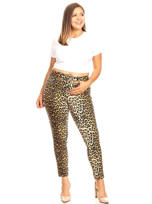 Printed Cheetah Super Stretchy Pants - Plus - Brown Leopard - Front