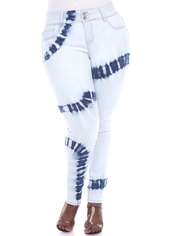 Tie Dye Light Blue Skinny Fit Denim Pants - Plus