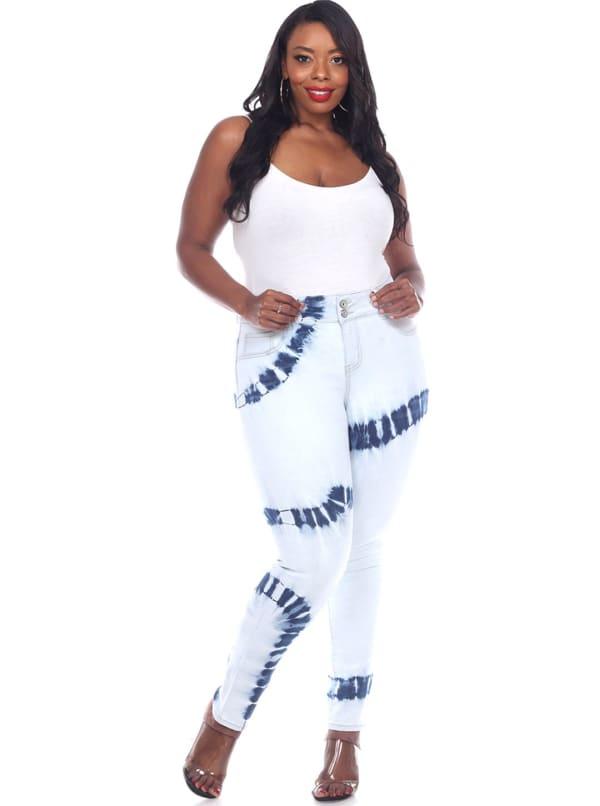 Tie Dye Light Blue Skinny Fit Denim Pants - Plus - White - Front