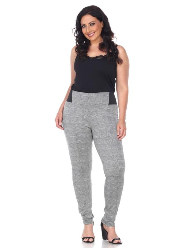 Jacquard Slim Elastic Inserts Pants - Plus - Grey Square - Front