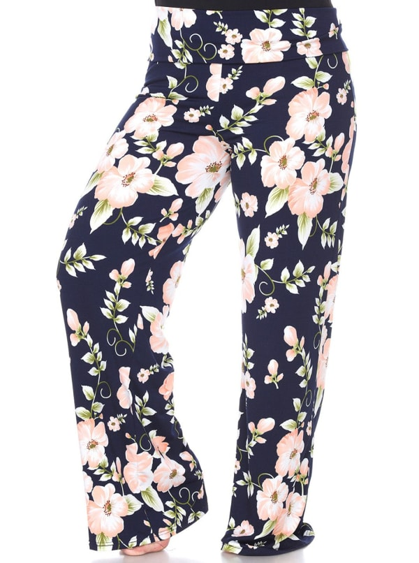 Floral Print Wide Palazzo Pants - Plus - Peach Flower - Front
