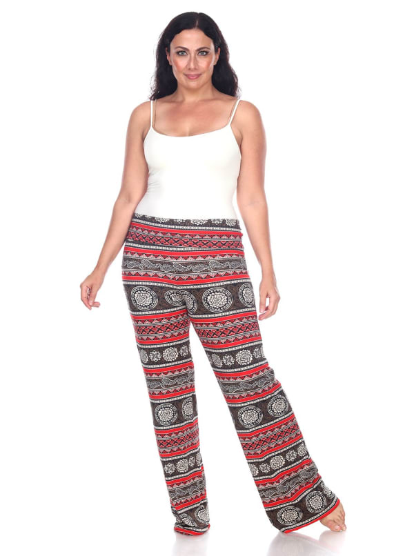 Printed Relaxed Wide Palazzo Pants - Plus - Round Red - Front