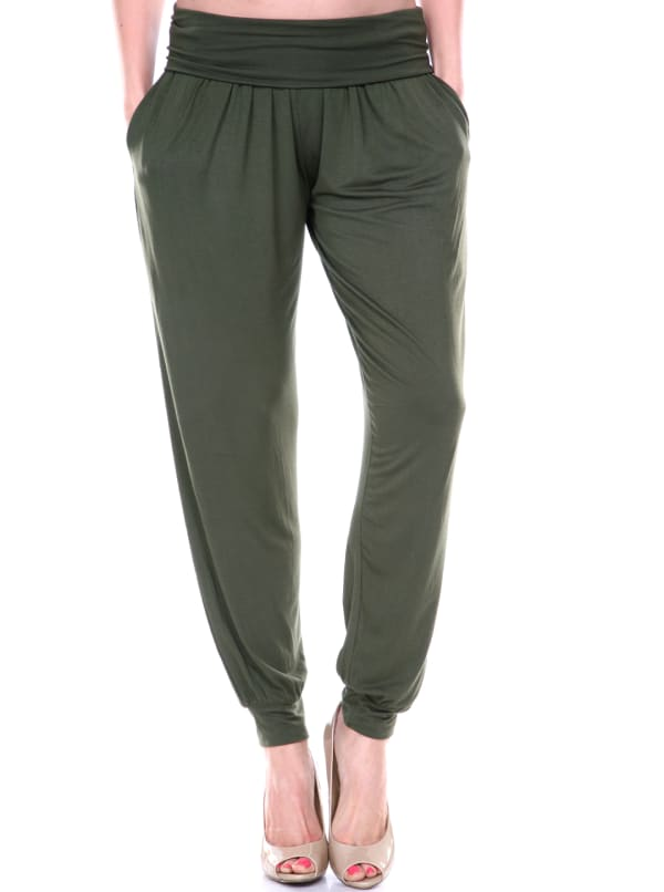 Lightweight Drawstring Waist Harem Pants - Olive - Front