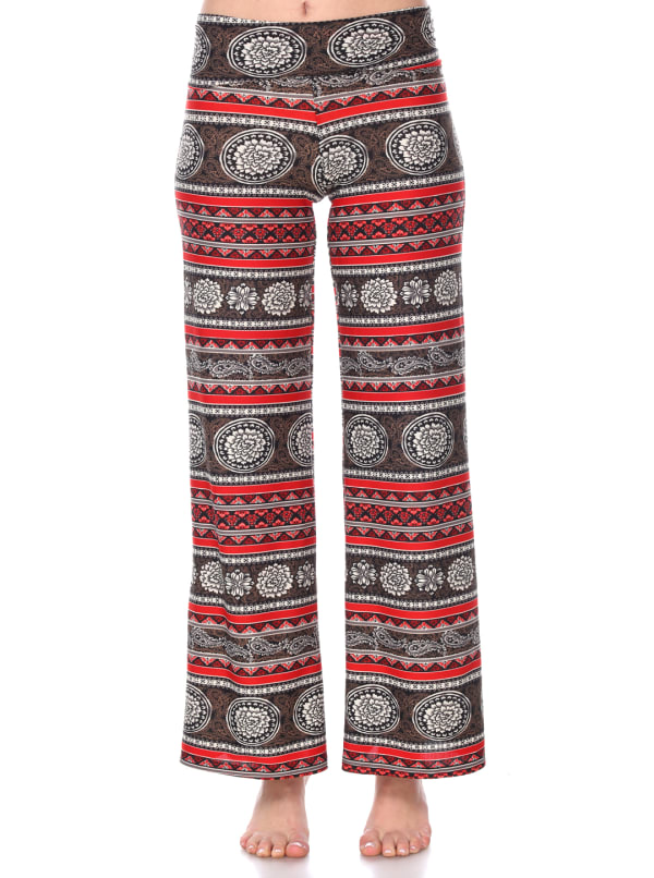 Printed Long Palazzo Pants - Round Red - Front