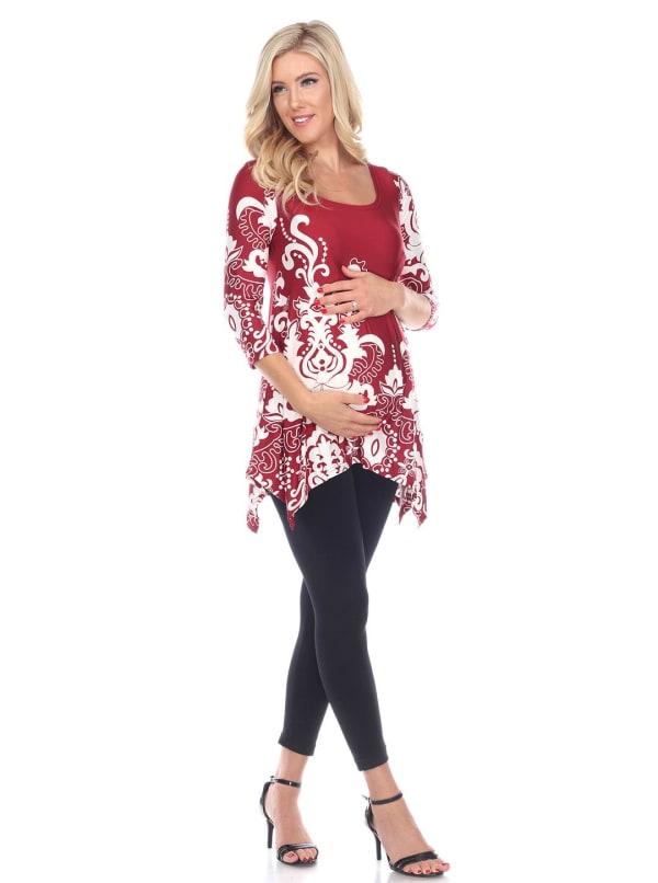 Maternity Three Quarter Sleeves Ganette Tunic - Plus