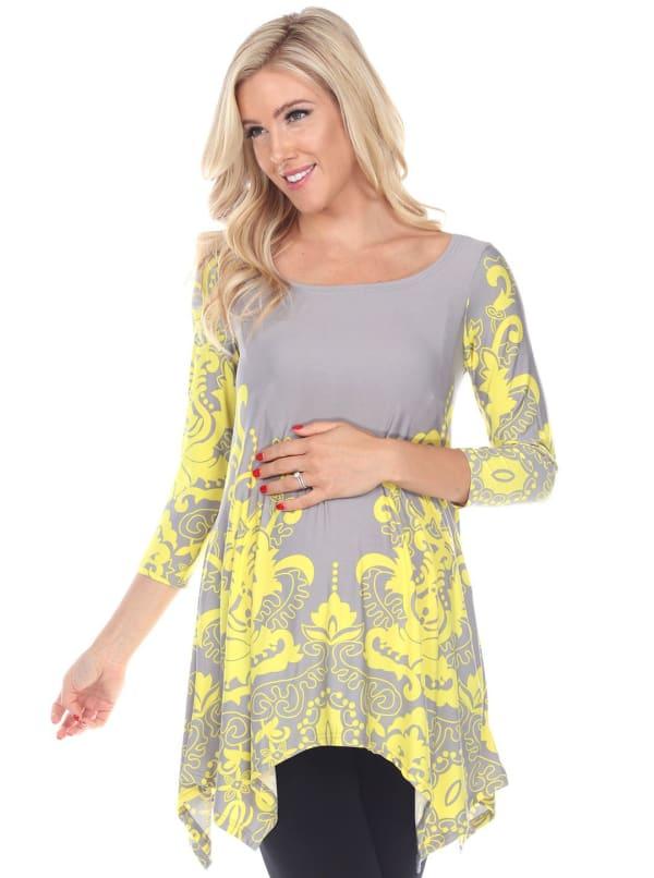 Maternity 3/4 sleeves 'Ganette' Tunic - Plus - Fuchsia / Black - Front
