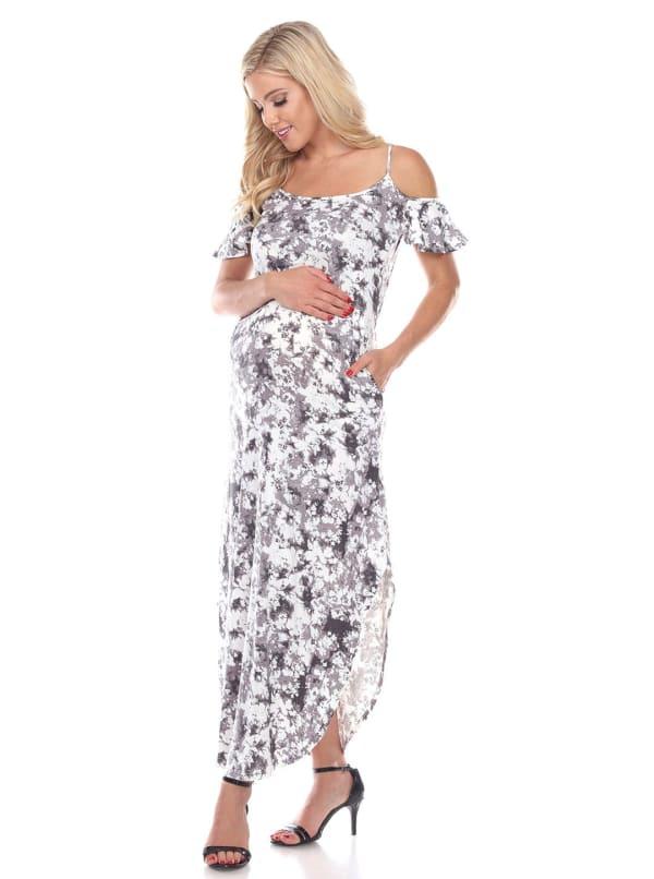 Maternity Cold Shoulder Tie Dye Maxi Dress - Plus - Black / White - Front