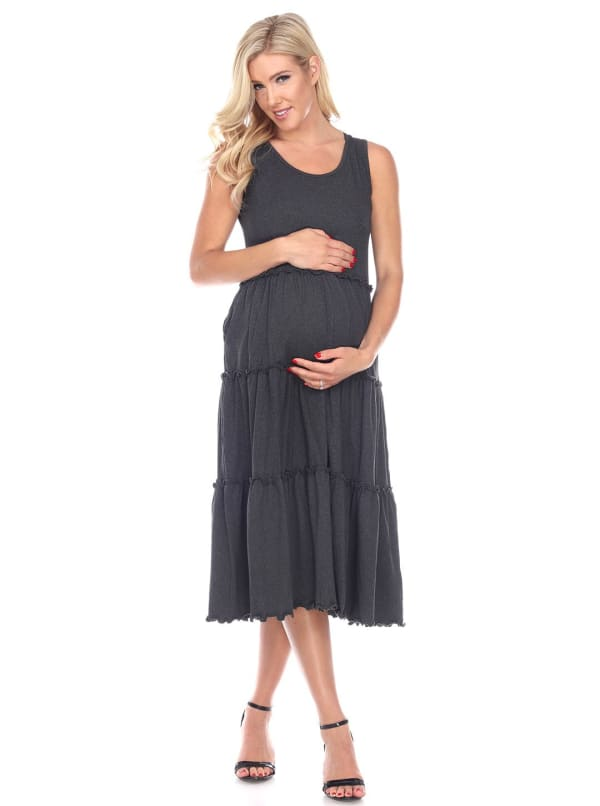 Maternity Scoop Neck Teired Midi Dress - Plus - Charcoal - Front