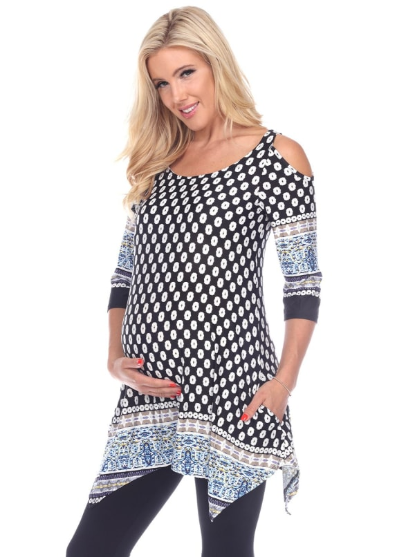 Maternity Printed Cold Shoulder Tunic - Black / White - Front