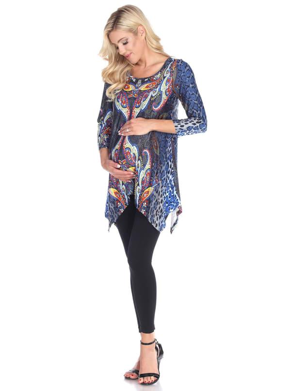Maternity Three Quarter Sleeves Arlene Tunic - Plus