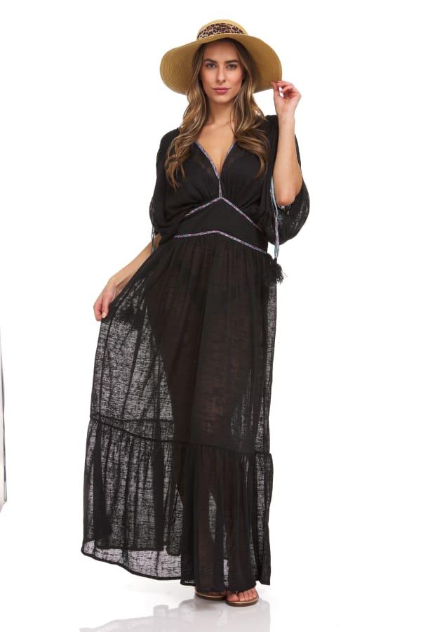 Solid Boho V-neck Maxi Dress