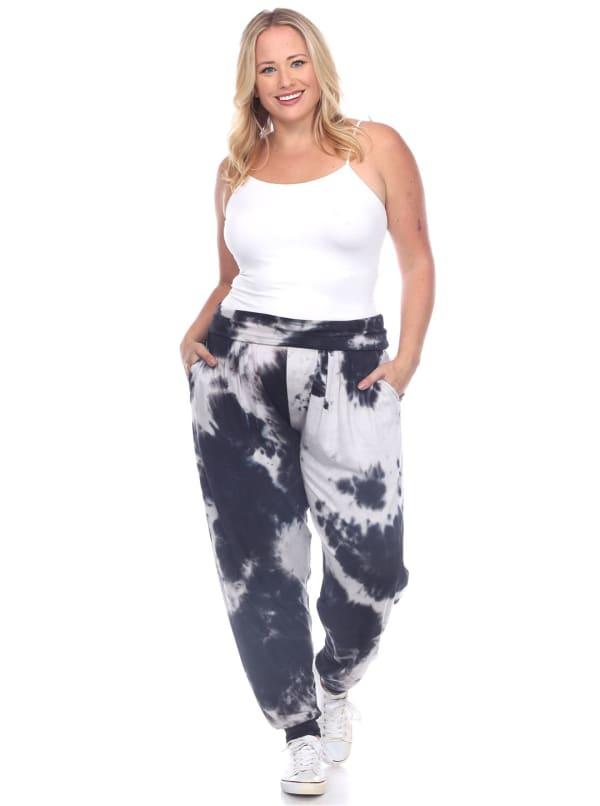 Tie Dye Relaxed Fit Harem Pants - Plus - Black - Front