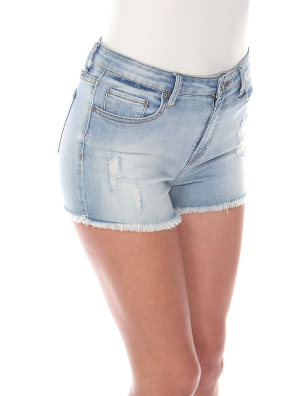 Mid Ripped Stretch Denim Shorts - Blue Denim - Front