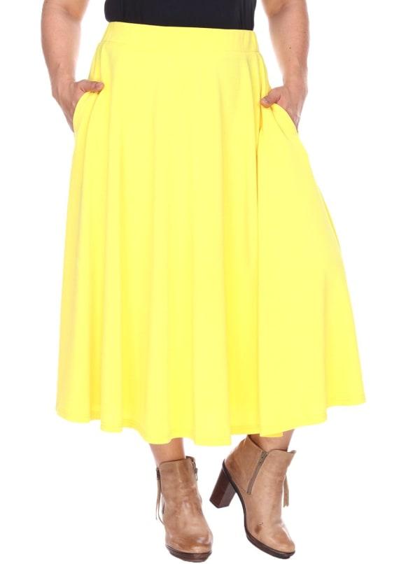Tasmin Flare Floral Midi Skirts - Plus - Yellow - Front