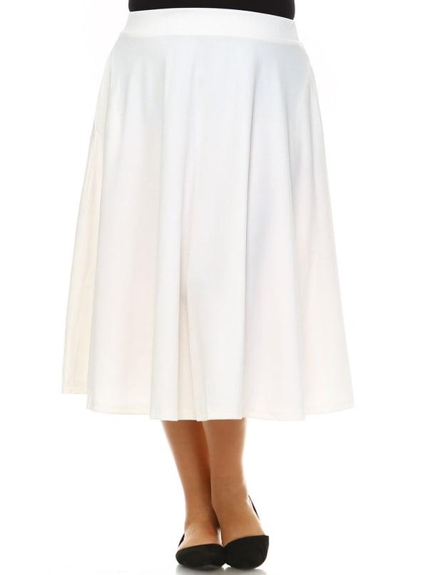 Tasmin Flare Floral Midi Skirts - Plus - White - Front