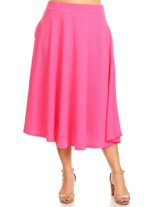 Tasmin Flare Floral Midi Skirts - Plus - Fuchsia - Front