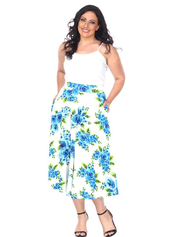 Flower Print 'Tasmin' Flare Midi Skirts - Plus