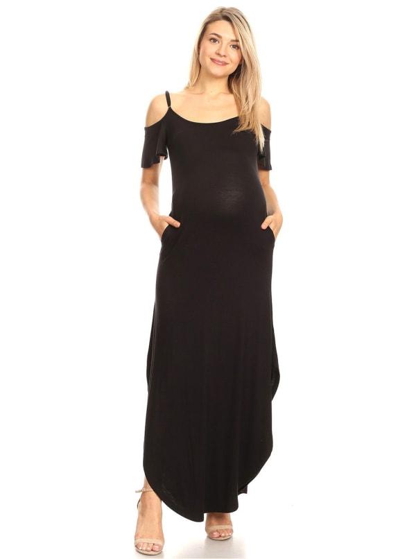 Double slit Maternity 'Reta' Maxi Dress - Plus - Black - Front