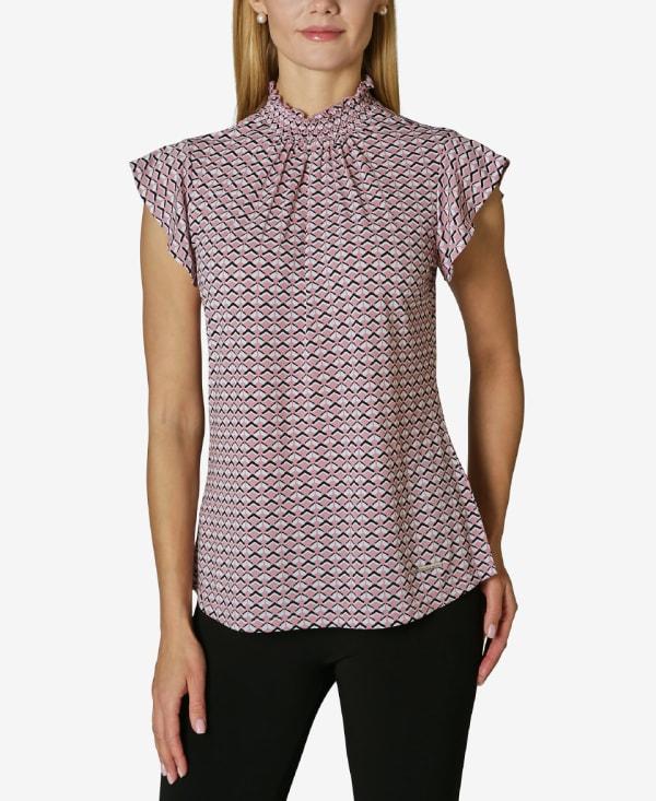 Adrienne Vittadini Short Sleeve Blouse with Smocked Neck