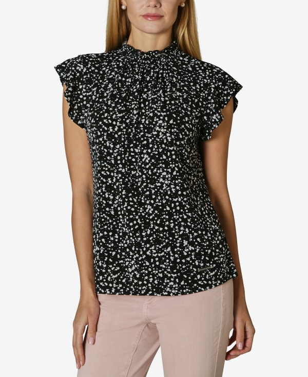 Short Sleeve Blouse with Smocked Neck - Bubbly Dot - Front