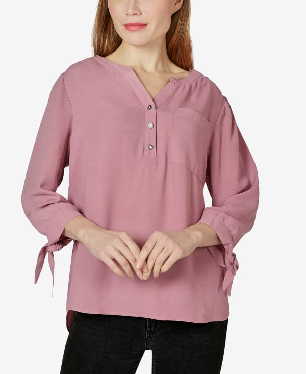 3/4 Sleeve Tie Cuff Blouse - Lilas - Front