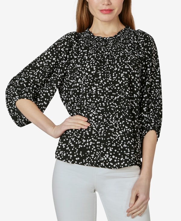 On or Off the Shoulder 3/4 Sleeve Peasant Top - Sprayed Dots Black - Front