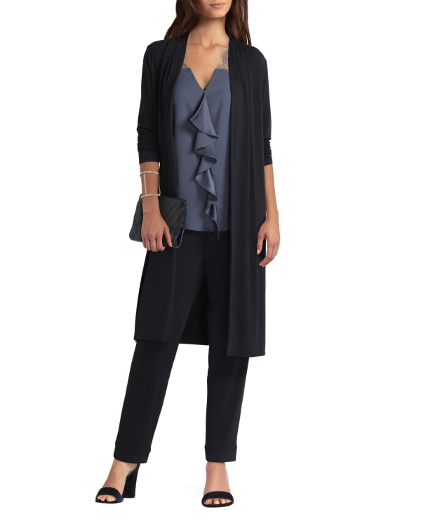 H Halston Long Sleeve Pleat Neck Cardigan - Black - Front
