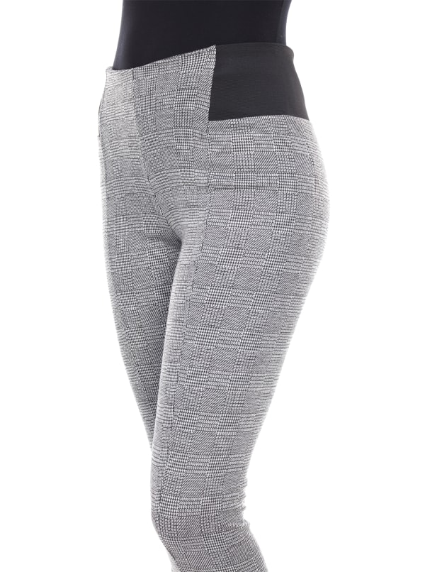 Jacquard Slim Black Side Elastic Inserts Pants - Grey Square - Front