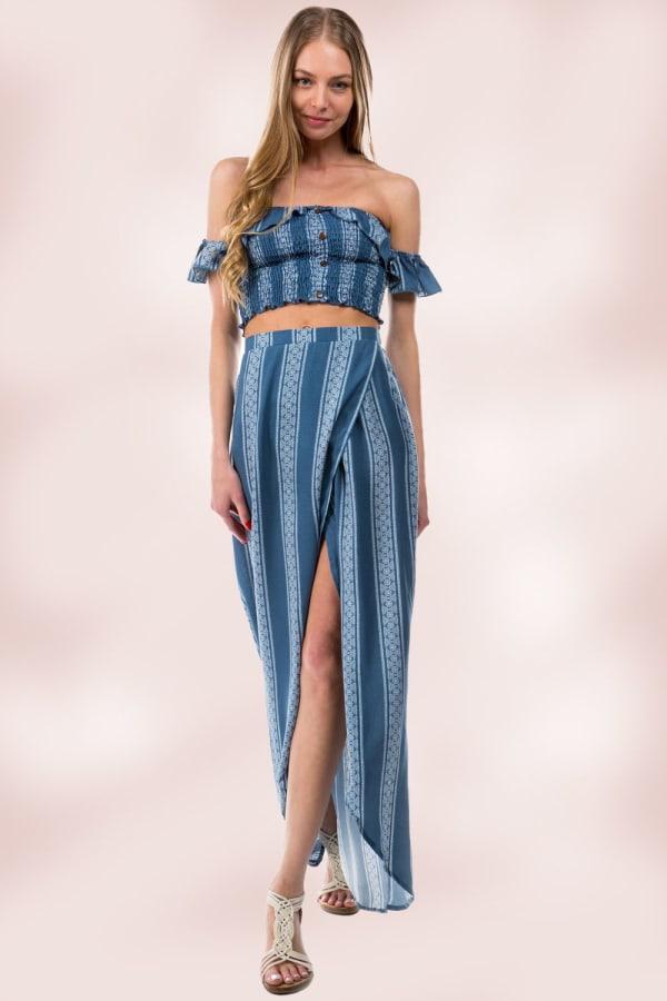 Stripe Crop Top Skirt Set