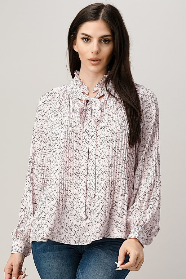 Pin Dot Pleated Tie Neck Long Sleeve Blouse Top