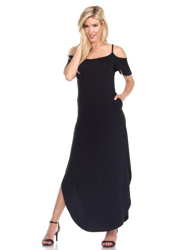Lexi Cold Shoulder Maxi Dress - Black - Front