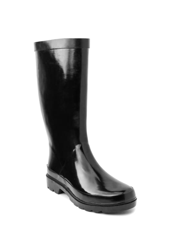 Raffle Waterproof Rain Boot -Solid Black - Front
