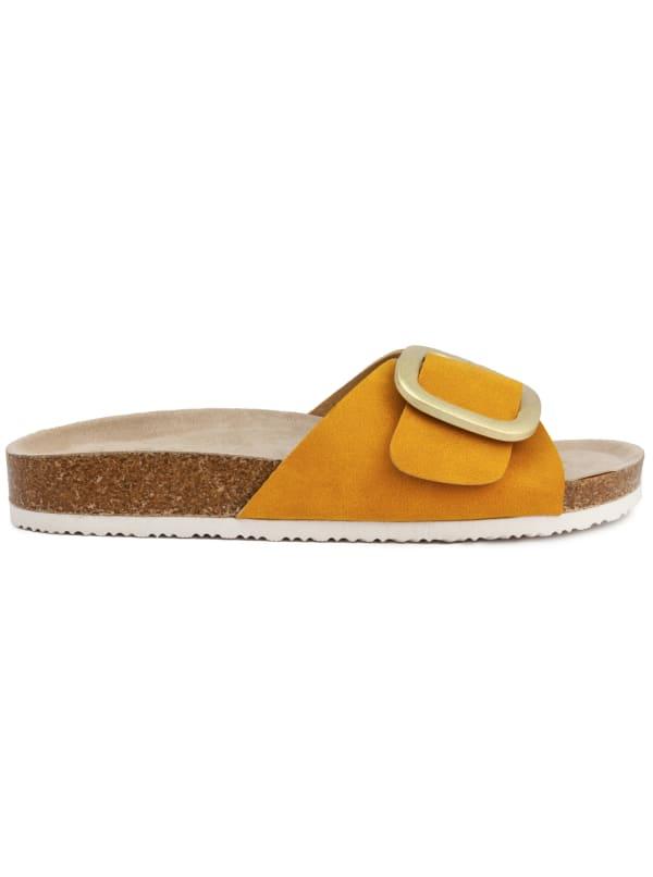 Zerri Slide Footbed Sandal - Yellow Nubuck - Front