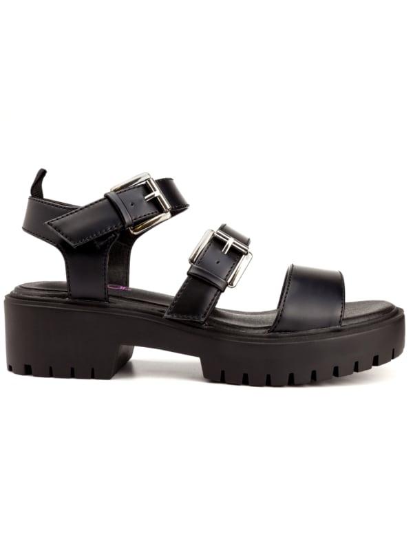 Indigo Buckle Lug Sole Sandal - Black Box - Front