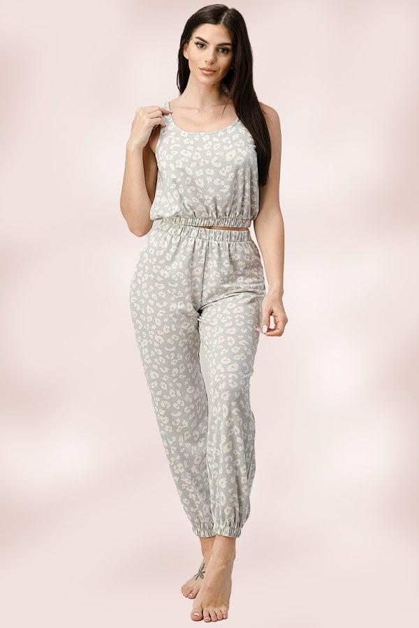 Jogger Tank Top Set leopard Pajama Set