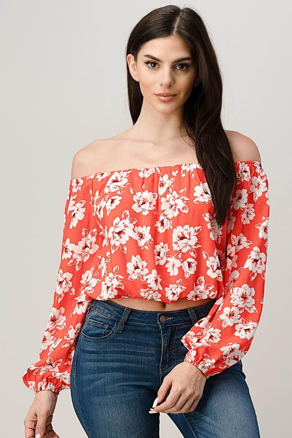Rayon Challis Floral Print Off Shoulder Blouse Top