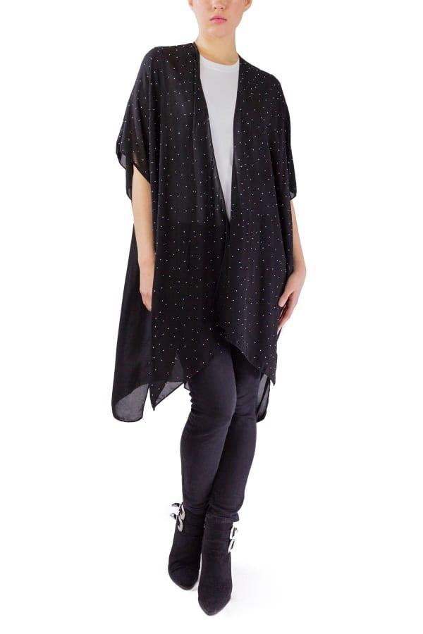 Kimono with Stones - Black / Multi - Front