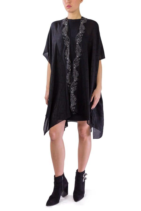 Pearls And Stud Leaf Border Wavy Kimono - Black / Silver - Front