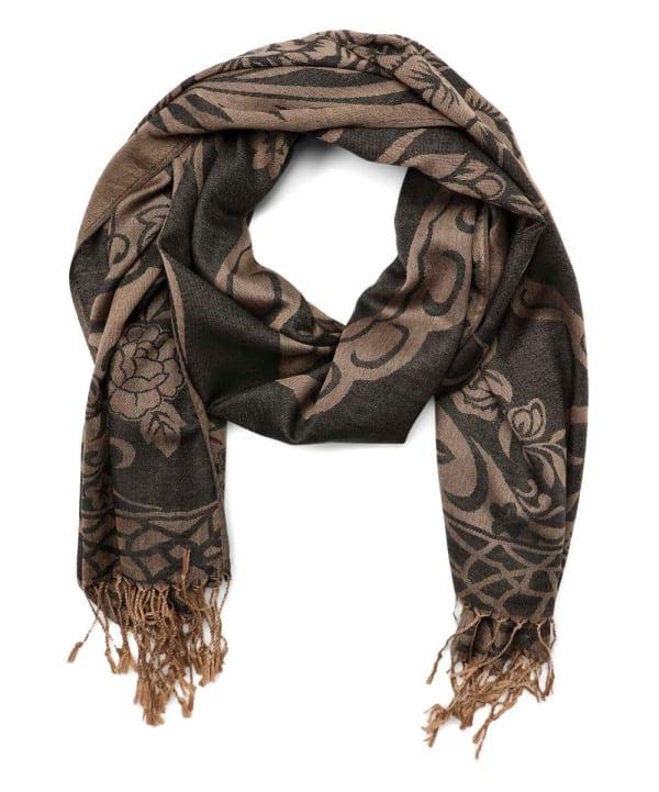 Soft Paisley Viscose Shawl Wrap - Black - Front