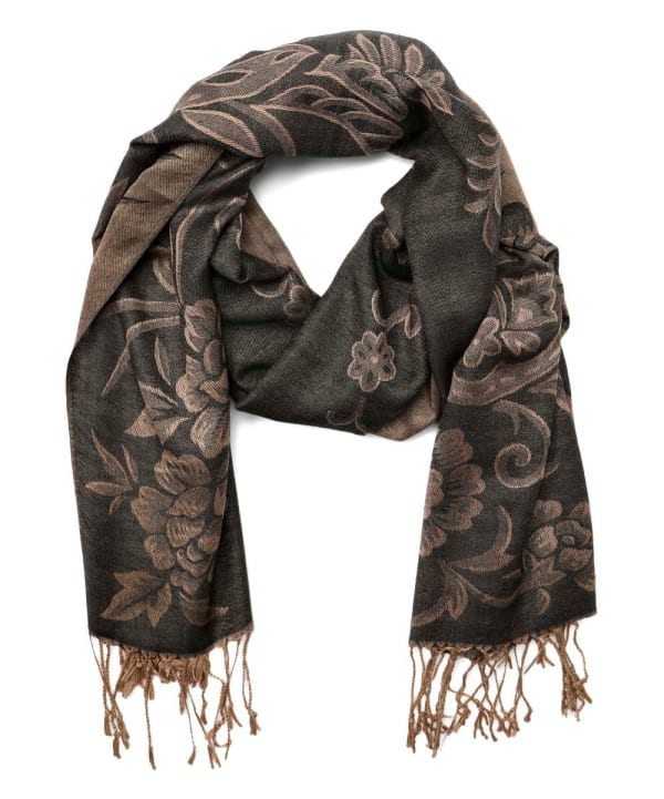 Paisley Long Shawl Wrap - Black - Front