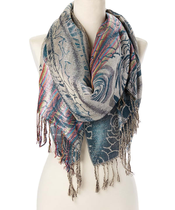 Acrylic Stole Scarf - Teal - Front