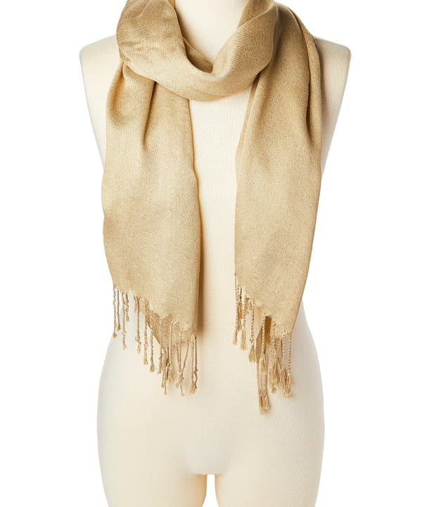 Solid Scarf Acrylic Gold Shawl Wrap Stole - Gold - Front