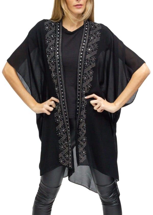 Rhinestone Border Large Zigzag Kimono