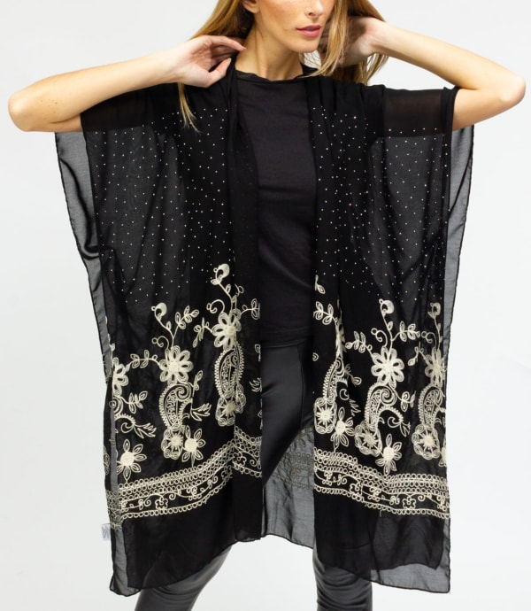 Embroidery Paisley Floral With Stone Border Kimono