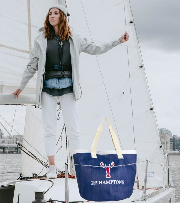 The Hamptons Insulated Logo Straw Tote -Navy / White - Front