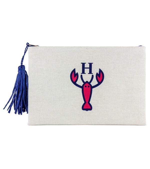 The Hampton Logo Canvas Clutch - Natural - Front