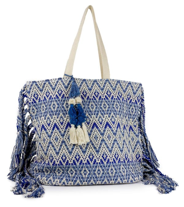 Woven Cotton Printed Bag with Fringe - Navy - Front