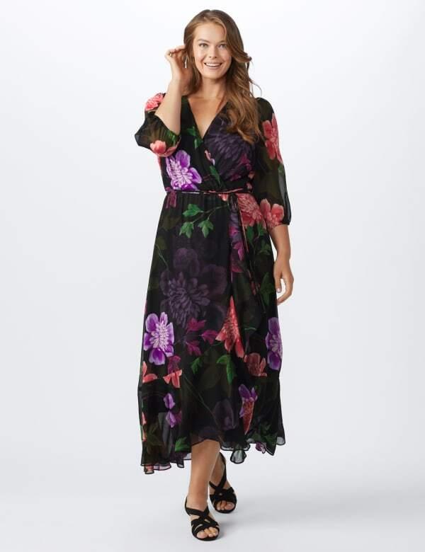 Maxi  Floral Ruffle Dress-Plus