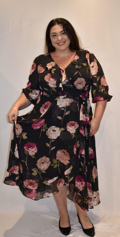 Faux Wrap Floral Ruffle Dress-Plus - Black / Rose - Front